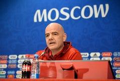 FIFA prezydent Gianni Infantino przy konferencją prasową w Moskwa zdjęcia stock