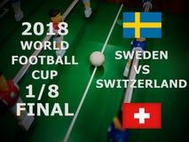 Fifa puchar świata Rosja 2018, futbolowy dopasowanie mistrzostwo finał Jeden Eighth filiżanka Zapałczany Szwecja VS Szwajcaria obraz stock
