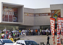FIFA Ticket Centre, Queue Out The Door. Mayhem breaks loose, outside all the FIFA ticket offices, in South Africa, as the last phase of tickets sales opens for Royalty Free Stock Photography