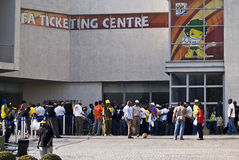 FIFA Ticket Centre, Queue Out The Door. Mayhem breaks loose, outside all the FIFA ticket offices, in South Africa, as the last phase of tickets sales opens for Royalty Free Stock Photo