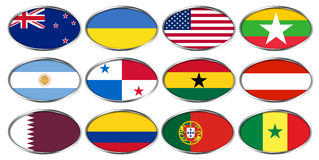 FIFA u-20 Παγκόσμιο Κύπελλο Νέα Ζηλανδία 2015, ομάδα Α, Β, Γ σημαιών Στοκ εικόνες με δικαίωμα ελεύθερης χρήσης