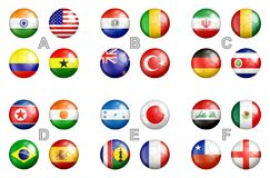 FIFA U-17 world cup 2017 team flags. All FIFA U-17 world cup 2017 India groups team flags on the soccer balls Stock Photography