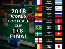 Fifa-världscup Ryssland 2018, fotbollsmatch mästerskap sista En åttondel av koppen Belgien Japan, Brasilien, Mexico, Kroatien, De royaltyfri bild