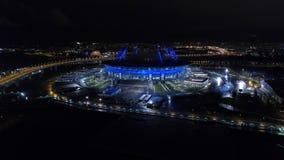 2018 FIFA världscup, Ryssland, St Petersburg, St Petersburg stadion, natt, antenner stock video