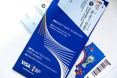 FIFA Venue Ticketing Centre, Moscow, Russia - April 2018. Tickets for the 2018 FIFA World Cup in Russia in summer, Luzhniki Stadium, Denmark - France royalty free stock photo