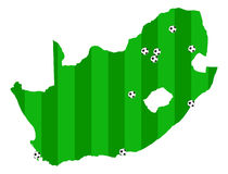 Fifa World Cup 2010 South Africa vector map. Fifa World Cup Soccer 2010 South Africa vector map with cities with grass texture vector illustration