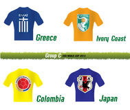 Fifa World Cup 2014 Group C. Vector Symbol soccer team Fifa World Cup 2014 Group C Stock Photos