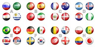 Free FIFA World Cup 2018 Team Flags Stock Photo - 108175380