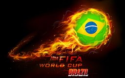 FIFA World Cup background. Illustration of fiery soccer ball in FIFA World Cup background Stock Photo