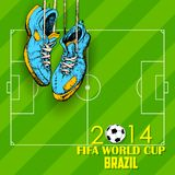 FIFA World Cup background. Illustration of hanging shoe in FIFA World Cup background Stock Photo