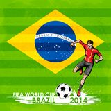 FIFA World Cup background. Illustration of player kicking soccer ball in FIFA World Cup background Stock Photos