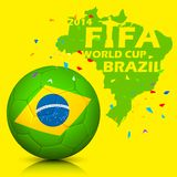 FIFA World Cup background. Illustration of soccer ball with brazil map in FIFA World Cup background Royalty Free Stock Photos