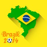 FIFA World Cup background. Illustration of soccer ball with brazil map in FIFA World Cup background Royalty Free Stock Images