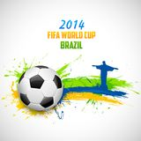 FIFA World Cup background. Illustration of soccer ball and Christ the Redeemer in FIFA World Cup background Stock Image