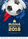 FIFA World Cup 2018 Banner Concept. Ad text and soccer ball. Editable vector background template Stock Photo