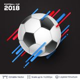 FIFA World Cup 2018 Banner Concept. Ad text and soccer ball. Editable vector background template Royalty Free Stock Images