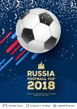 FIFA World Cup 2018 Banner Concept. Ad text and soccer ball. Editable vector background template Stock Photos