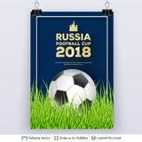 FIFA World Cup 2018 Banner Concept. Ad text and soccer ball. Editable vector background template Royalty Free Stock Photos