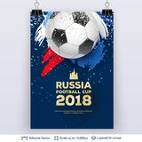 FIFA World Cup 2018 Banner Concept. Ad text and soccer ball. Editable vector background template Royalty Free Stock Photo