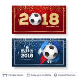 FIFA World Cup 2018 Banner Concept. Ad text and soccer ball. Editable vector background template Stock Images