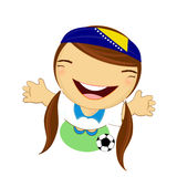 Fifa world cup 2014 bosnia herzegovina national football team, businessgirl happy is playing soccer Stock Photos