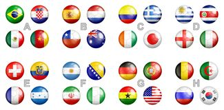 FIFA world cup 2014 team flags. All FIFA world cup 2014 Brazil groups team flags on the soccer balls Stock Photos