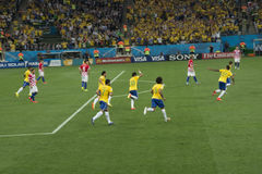 FIFA WORLD CUP BRAZIL 2014. Neymar celebrates his first goal in the World Cup against Croacia, on June 12, 2014 stock image