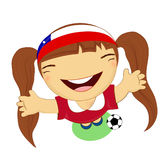 Fifa world cup 2014 chile national football team, businessgirl ha Royalty Free Stock Photography