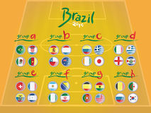 Fifa world cup groups with flags. On pitch background Stock Photo