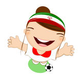Fifa world cup 2014 iran national football team, businessgirl happy is playing soccer Stock Images