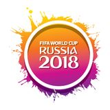 FIFA world cup 2018 poster. Creative FIFA world cup 2018 greeting or poster design, color splash Stock Images