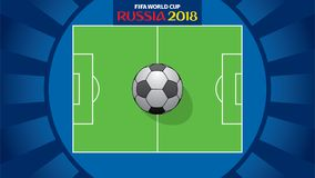 FIFA world cup 2018 poster. Creative FIFA world cup 2018 greeting or poster design, soccer stadium with big ball Stock Photography