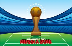 FIFA world cup 2018 poster. Creative FIFA world cup 2018 greeting or poster design, big golden trophy on stadium Royalty Free Stock Images