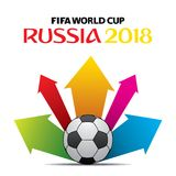 FIFA world cup 2018 poster. Creative FIFA world cup 2018 greeting or poster design, colorful arrow Stock Image