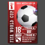 2018 FIFA World Cup Poster Vector. Championship Russia 2018. Soccer Sport Event Announcement. Banner Advertising. 2018 FIFA World Cup Poster Vector. Russia Event Stock Image
