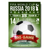 2018 FIFA World Cup Poster Vector. Welcome To Russia. Soccer Football Ball. Design For Sport Bar Promotion. Tournament. 2018 FIFA World Cup Poster Vector. Russia Royalty Free Stock Photography