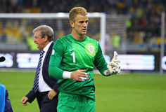 FIFA World Cup 2014 qualifier game Ukraine v England. KYIV, UKRAINE - SEPTEMBER 10, 2013: Goalkeeper Joe Hart of England walks on after the FIFA World Cup 2014 Stock Photography