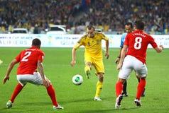 FIFA World Cup 2014 qualifier game Ukraine v England. KYIV, UKRAINE - SEPTEMBER 10, 2013: Oleg Gusev of Ukraine С in action during FIFA World Cup 2014 qualifier Stock Photography