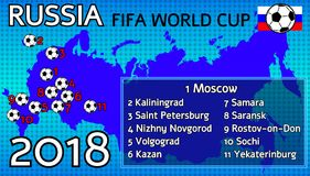 FIFA World Cup, Russia 2018. On a blue background, the country i vector illustration