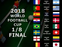 Fifa World Cup Russia 2018, football match. Championship. Final. One Eighth Of Cup. Belgium, Japan, Brazil, Mexico, Croatia, Denma royalty free stock photography