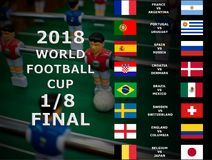 Fifa World Cup Russia 2018, football match. Championship. Final. One Eighth Of Cup. Belgium, Japan, Brazil, Mexico, Croatia, Denma royalty free stock image