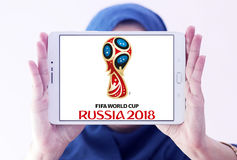 FIFA World Cup Russia 2018 logo. Logo of FIFA World Cup Russia 2018 on samsung tablet holded by arab muslim woman. The 2018 FIFA World Cup will be the 21st FIFA Royalty Free Stock Photography