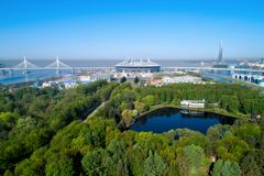 2018 FIFA World Cup, Russia, Saint Petersburg, Saint Petersburg stadium. Aerial photo of Saint Petersburg stadium, also called Zenit Arena, May 15, 2018 Stock Images