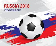 Fifa World Cup. Russian Football 2018. Championship Fifa world Cup. National traditional element for cards, invitations, brochures with flag, golden cup Stock Photo