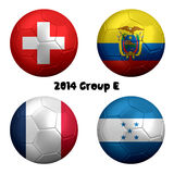 2014 FIFA World Cup Soccer Group E Nations. 3D rendering of national flag on ball for Soccer Championship 2014, Brazil. Group E. Switzerland, Ecuador, France Royalty Free Stock Photo