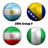 2014 FIFA World Cup Soccer Group F Nations. 3D rendering of national flag on ball for Soccer Championship 2014, Brazil. Group F. Argentina; Nigeria; Iran, Bosnia Stock Photos
