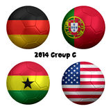 2014 FIFA World Cup Soccer Group G Nations. 3D rendering of national flag on ball for Soccer Championship 2014, Brazil. Group G. Germany, Portugal, Ghana, USA stock illustration