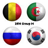 2014 FIFA World Cup Soccer Group H Nations. 3D rendering of national flag on ball for Soccer Championship 2014, Brazil. Group H. Belgium, Algeria, Russia, Korea Royalty Free Stock Image