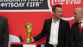 FIFA World Cup Trophy is presented by Lothar Matthaus in Moscow, Russia 2018