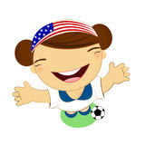 Fifa world cup 2014 usa national football team, businessgirl Royalty Free Stock Photos